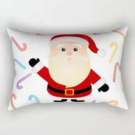 Cute Santa claus and colorful candy canes Rectangular Pillow