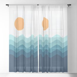 Abstract Landcape 14 Portrait Sheer Curtain