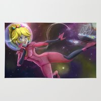 princess peach Area & Throw Rugs featuring Princess Peach by Luiz Raffaello de Negreiros