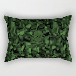 digital skull green Rectangular Pillow