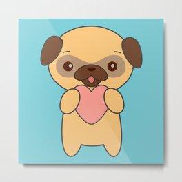 Kawaii Pug With Heart Metal Print