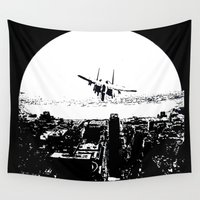 airplane Wall Tapestries featuring airplane by Anand Brai