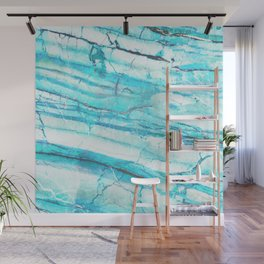White Marble with Blue Green Veins Wall Mural