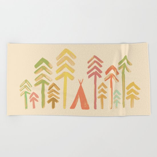 Tepee in the forest Beach Towel