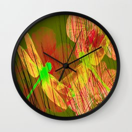 Dragonflies & Flowers Summer QQ Wall Clock