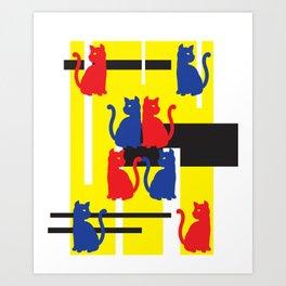 Cat in De Stijl Art Print