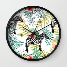 Zebra, cactus and flowers Wall Clock