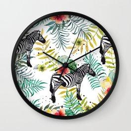 Zebra, cactus and flowers Wall Clock