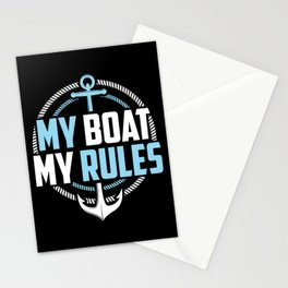 Motor Boating Captain My Boat My Rules Anchor Stationery Cards
