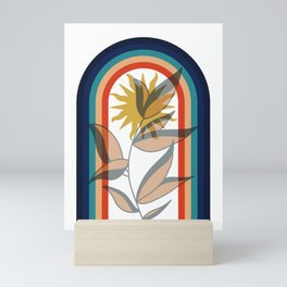 Abstract contemporary aesthetic poster with sun plant and geometric retro 70s rainbow boho wall art Mini Art Print