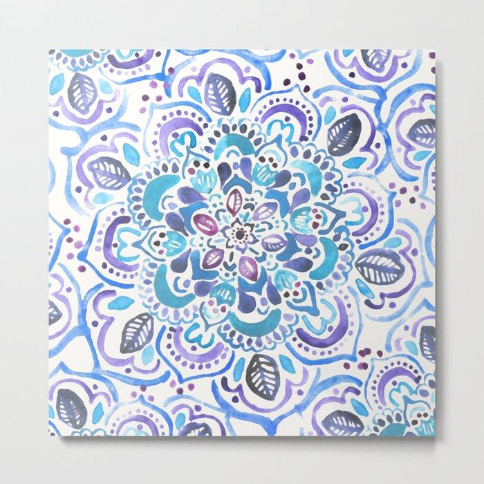 The Blues - Watercolor Mandala Metal Print