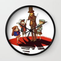 gravity falls Wall Clocks featuring Layton in Gravity Falls by stubbornpotato