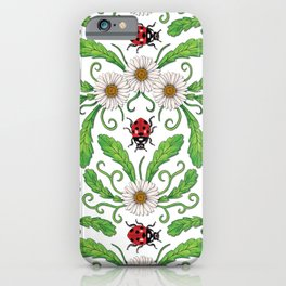 Ladybugs & Daisies - Cute Floral Bug Pattern with Ladybirds iPhone Case