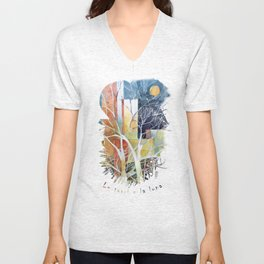 Le torri e la luna Unisex V-Neck