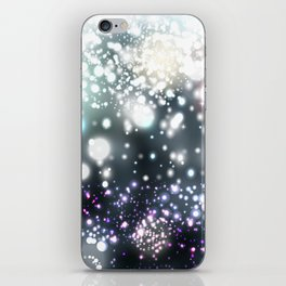 Christmas pattern with snowflakes and lights iPhone Skin