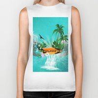 surfing Biker Tanks featuring Surfing by nicky2342