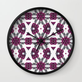 Kaleidoscope Flowers in Pink and Purple #1 Wall Clock