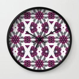 Kaleidoscope Flowers in Pink and Purple #1 Wall Clock