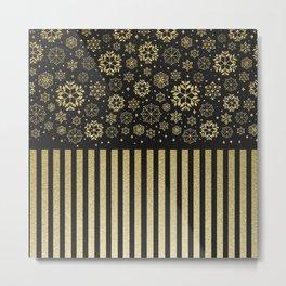 Luxury Modern Golden Snowflake and stripe Metal Print
