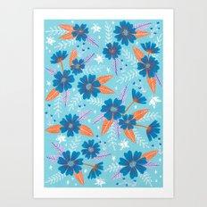 Floral Moths - Blue Art Print