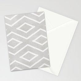 Stitch Diamond Tribal Print in Grey Stationery Cards