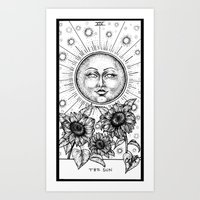 tarot Art Prints featuring Sun Tarot by Corinne Elyse