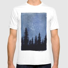 Starry Pines White MEDIUM Mens Fitted Tee