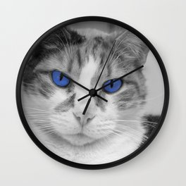 Cat with Blue Eyes Wall Clock