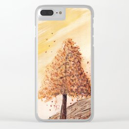 Autumn Tree Landscape Clear iPhone Case