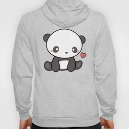 Cute Kawaii Panda With Heart Hoody