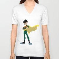 robin V-neck T-shirts featuring Robin by karla estrada