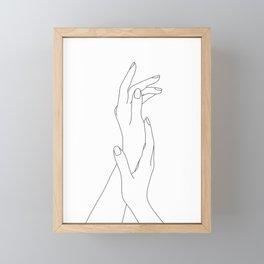 Hands line drawing illustration - Dia Framed Mini Art Print