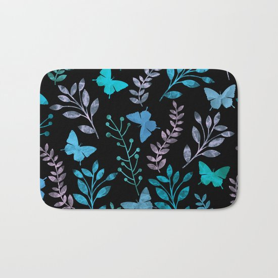 Watercolor flowers & butterflies II Bath Mat