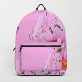 PASTEL FUCHSIA PINK COSMOS FLOWERS  ON PINK COLOR Backpack