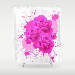 CERISE PINK ROSE PATTERN WATERCOLOR SPLATTER Shower Curtain