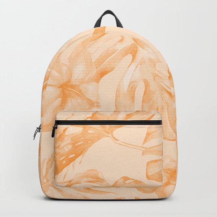 Island Vacation Hibiscus Palm Leaf Orange Backpack