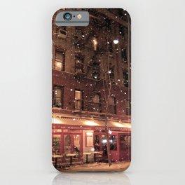 Cornelia St Cafe in the snow iPhone Case