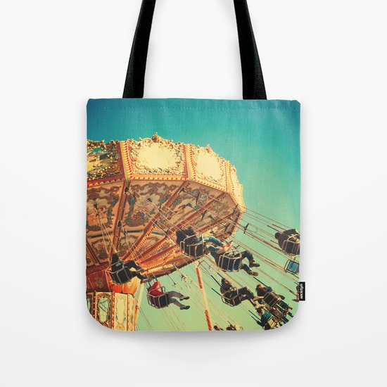 Vintage Chain Swing Ride on Blue Sky  Tote Bag