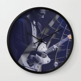 Guitarist in concert blue Wall Clock