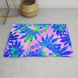 Tropical Adventure - Neon Blue, Pink and Green #tropical #homedecor Rug