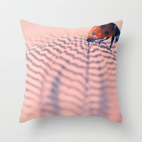 beetle Throw Pillows featuring beetle by Tanja Riedel