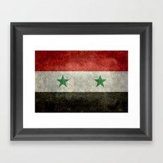 National flag of Syria - vintage Framed Art Print