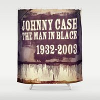 johnny cash Shower Curtains featuring Johnny Cash by Dan99