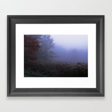 Early morning in a foggy and frosty autumn morning at Sharron Woods Framed Art Print