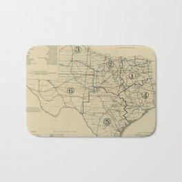 Vintage Texas Highway Map (1917) Bath Mat