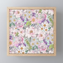 Watercolor garden peonies floral hand paint Framed Mini Art Print