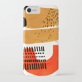 Mid Century Modern Abstract Minimalist Retro Vintage Style Fun Playful Ochre Yellow Ochre Orange Sha iPhone Case