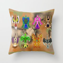 "Native American Waterbirds ""Of All Color"" Throw Pillow"
