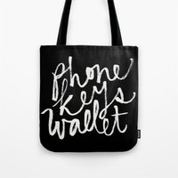 wallet Tote Bags featuring phone, keys, wallet! by molly ennis