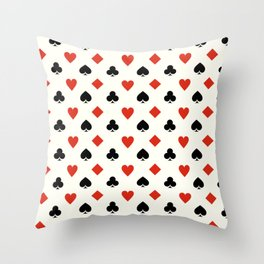Playing Card Suits Throw Pillow
